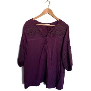 NWT Solitarie Purple Crochet Inset Blouse
